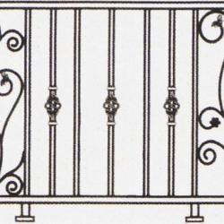 Wrought Iron Balcony Railing (Curve) 004
