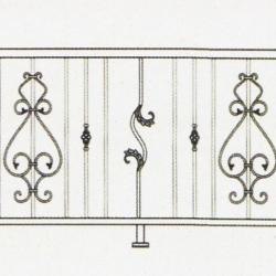 Wrought Iron Balcony Railing (Curve) 006